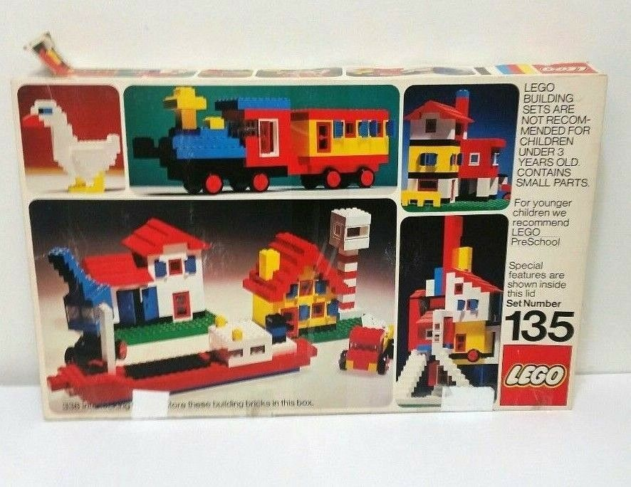 Vintage LEGO Building Set No 135 From From From 1973 - Incomplete w  Original Box 8448bb