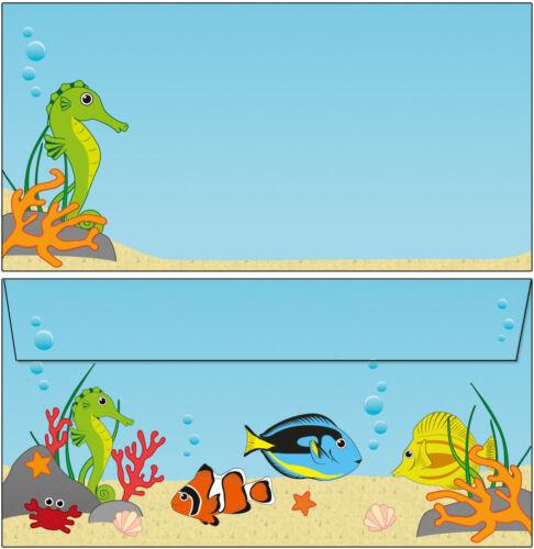 20 enveloppes motif monde sous-marin DL of lettres poissons hippocampes eau