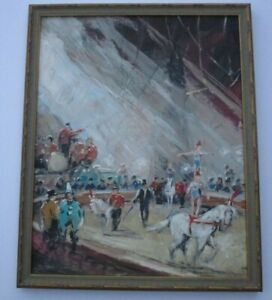 VINTAGE-CIRCUS-PAINTING-SIGNED-MYSTERY-ARTIST-IMPRESSIONIST-ACROBAT-HORSES-SHOW