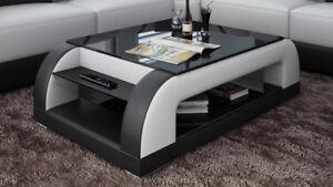 Détails sur Cuir Table Basse Moderne en Verre Design Tableaux Salon Ct9012w