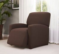 Brown-recliner Cover-stretch-checkerboard-pick From 5 Colors-avail. In All Sizes