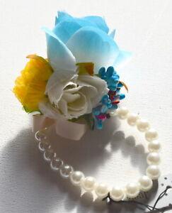 Nouvelle Perle S'étendent De Corsage De Poignet Avec Bal Bleu Gros Bourgeons De Rose Et De Couleur-afficher Le Titre D'origine