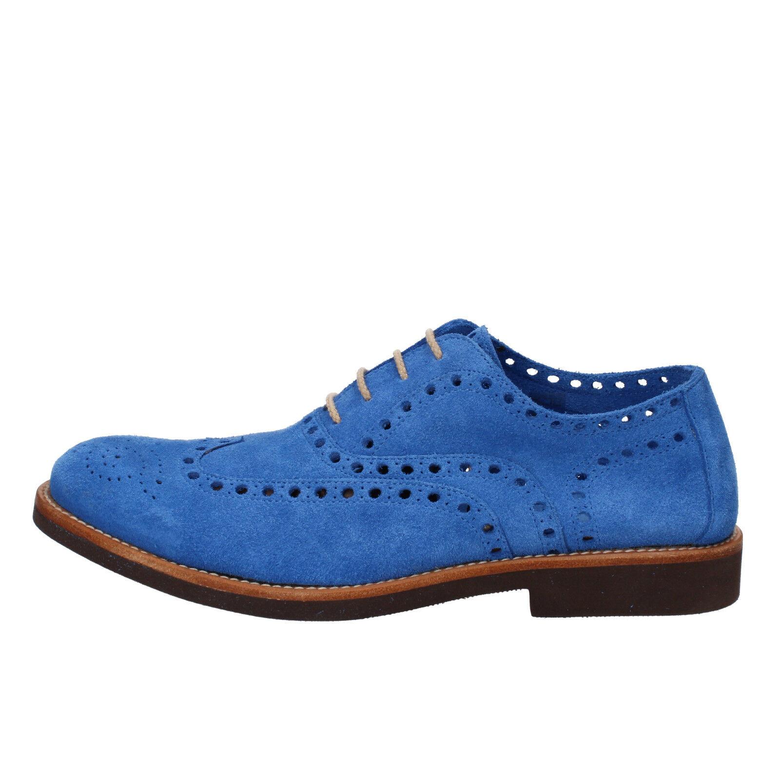 Men's shoes DI MELLA 11 () elegant bluee suede AD234-M