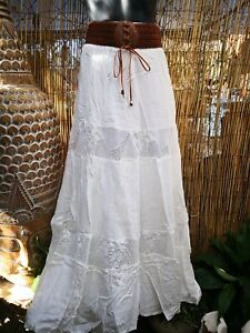 look out for best price find workmanship Details about White Very Long Bohemian Maxi Skirt- Elastic Waist & Belt -  Lace Insert Size 10