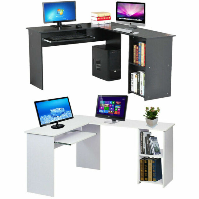 Wooden Corner Computer Desk Home Office L Shaped Study Gaming Table With Shelves