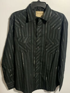 WRANGLER-MEN-S-WESTERN-STYLE-SNAP-BUTTON-FRONT-LONG-SLEEVE-SHIRT-SIZE-LARGE