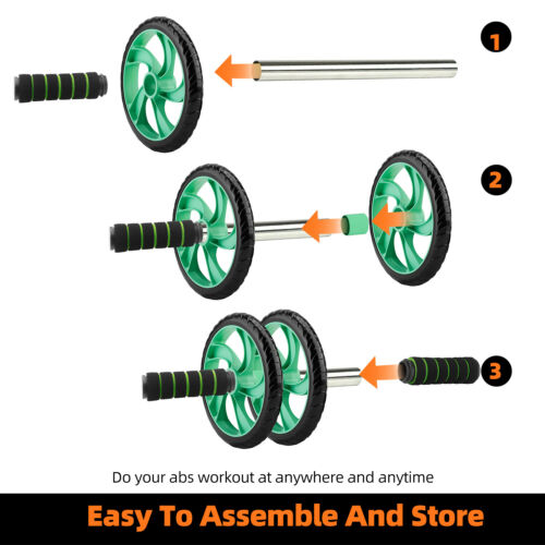 Ab Abdominal Wheel Roller Gym Home Exercise Workout Equipment Core Knee Fitness