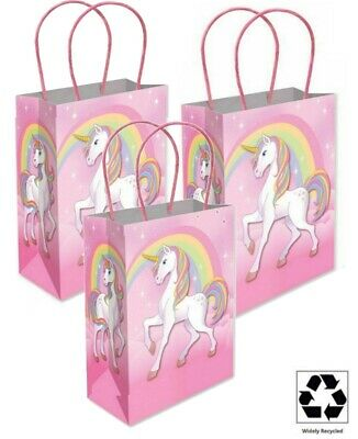 CUTE BIRTHDAY BAGS GIRLS PINK MAGICAL UNICORN PARTY PAPER TREAT LOOT GIFT BAG