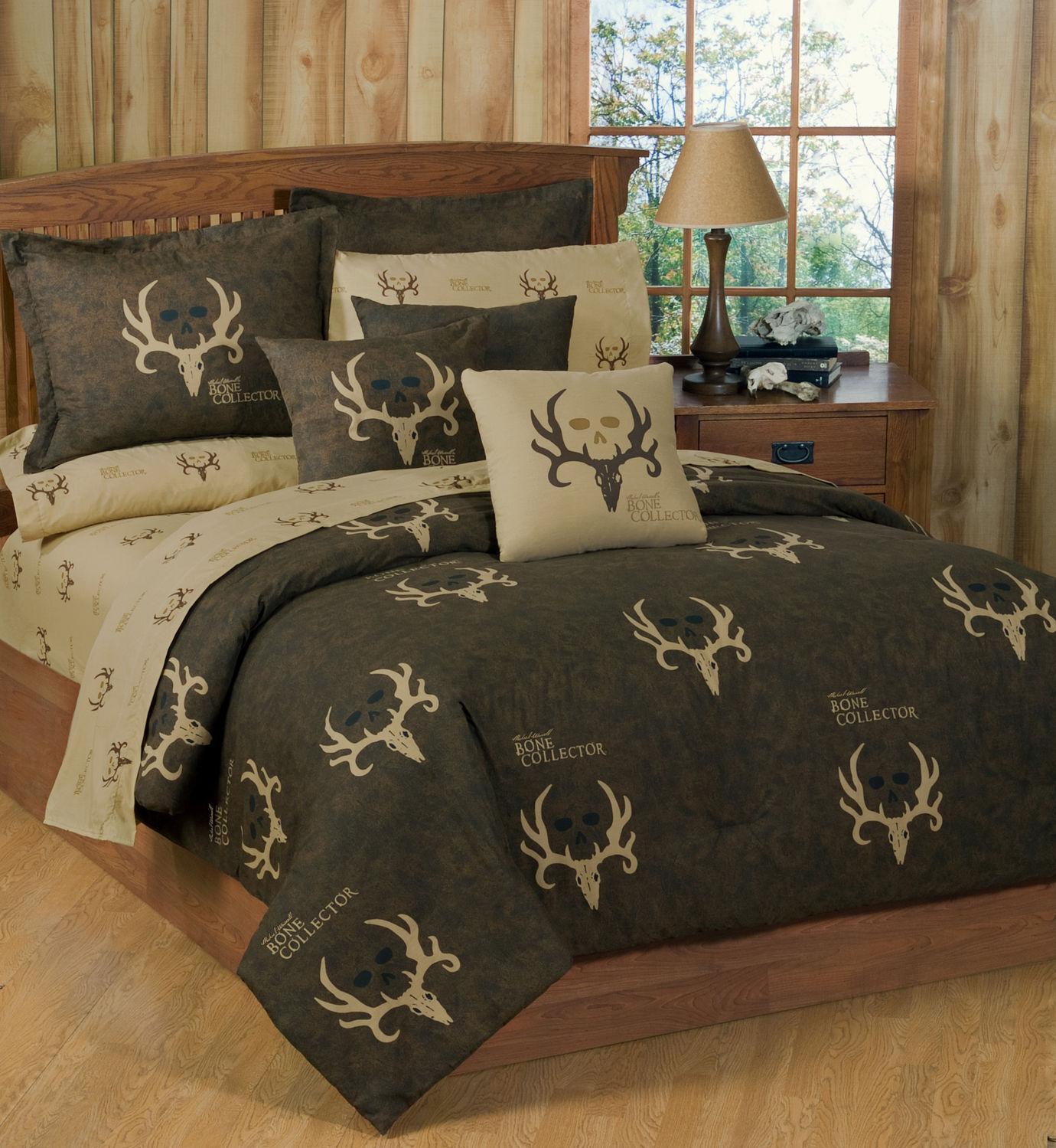 Bone Collector Comforter Set, Twin Full Königin König Bettding Antler Logo