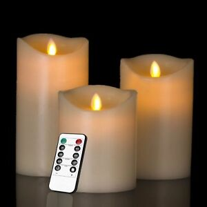 3 Luminara Flickering Moving Wick Flameless Candle LED Remote Candles Set Pillar