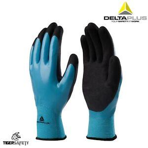 X2 Coppie Delta Plus Wet and Dry VV636 doppio OLEOSE NITRILE Guanti Lavoro grassa PPE