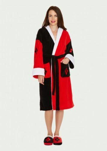 Womens Ladies Fleece Character Superhero Villain Dressing Night Gown Robe Mules