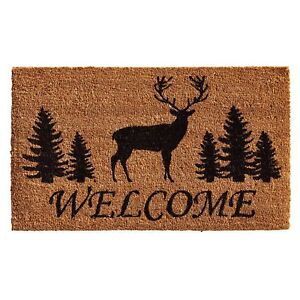 Image Is Loading Front Door Welcome Mat Rustic Style Porch Elk