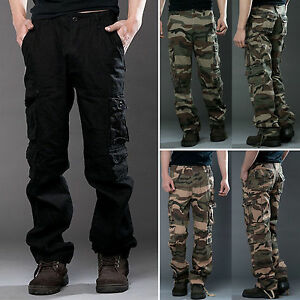 Men-039-s-Camo-Cargo-Pants-Military-Army-Combat-Work-Camping-Trousers-Multi-Pockets