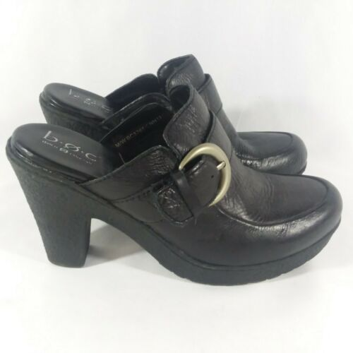 Born Black Leather Mule Clog Platforms Buckle Acce