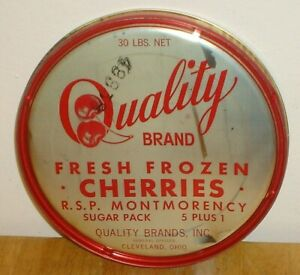 Vintage Quality Brand Fresh Frozen Cherries Tin / Metal Can Lid Cleveland, Ohio