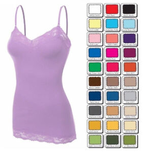 Womens-Plus-Size-Lace-Tank-Top-Cami-Bozzolo-Long-Layering-Basic-XL-1X-2X-3X