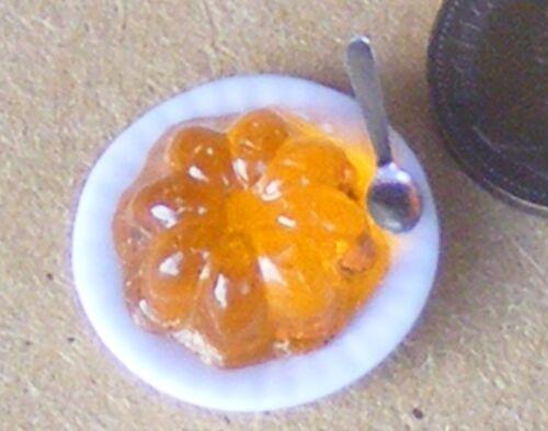 Escala 1:12 en una placa de cerámica NARANJA JELLY tumdee Casa De Muñecas Accesorio de alimentos OJ3