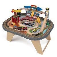Kidkraft 58 Piece Transportation Station Wood Train Set Table   17564