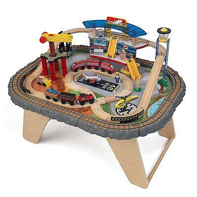 KidKraft Kids 58 Piece Transportation Station Wood Train Play Set Activity Table