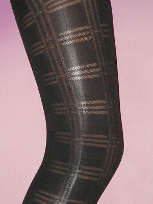 Thick Age 9-11 Tights Girls Footless Opaque Black Square Patterned