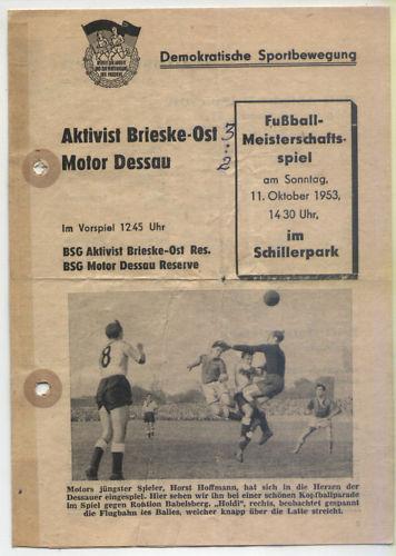 OL Dessau 53/54 BSG Moteur Dessau OL - BSG Activiste Brieske-Ost (11.10.1953) a1b80a