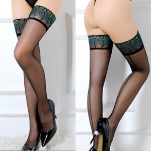 Womens Sexy STAY-UP STOCKINGS Sheer Thigh High Peacock LACE TOP Socks Hosiery
