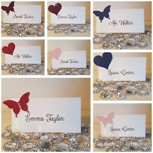 10 x Handmade/Personalised Wedding Place Name Cards - Table Setting ...