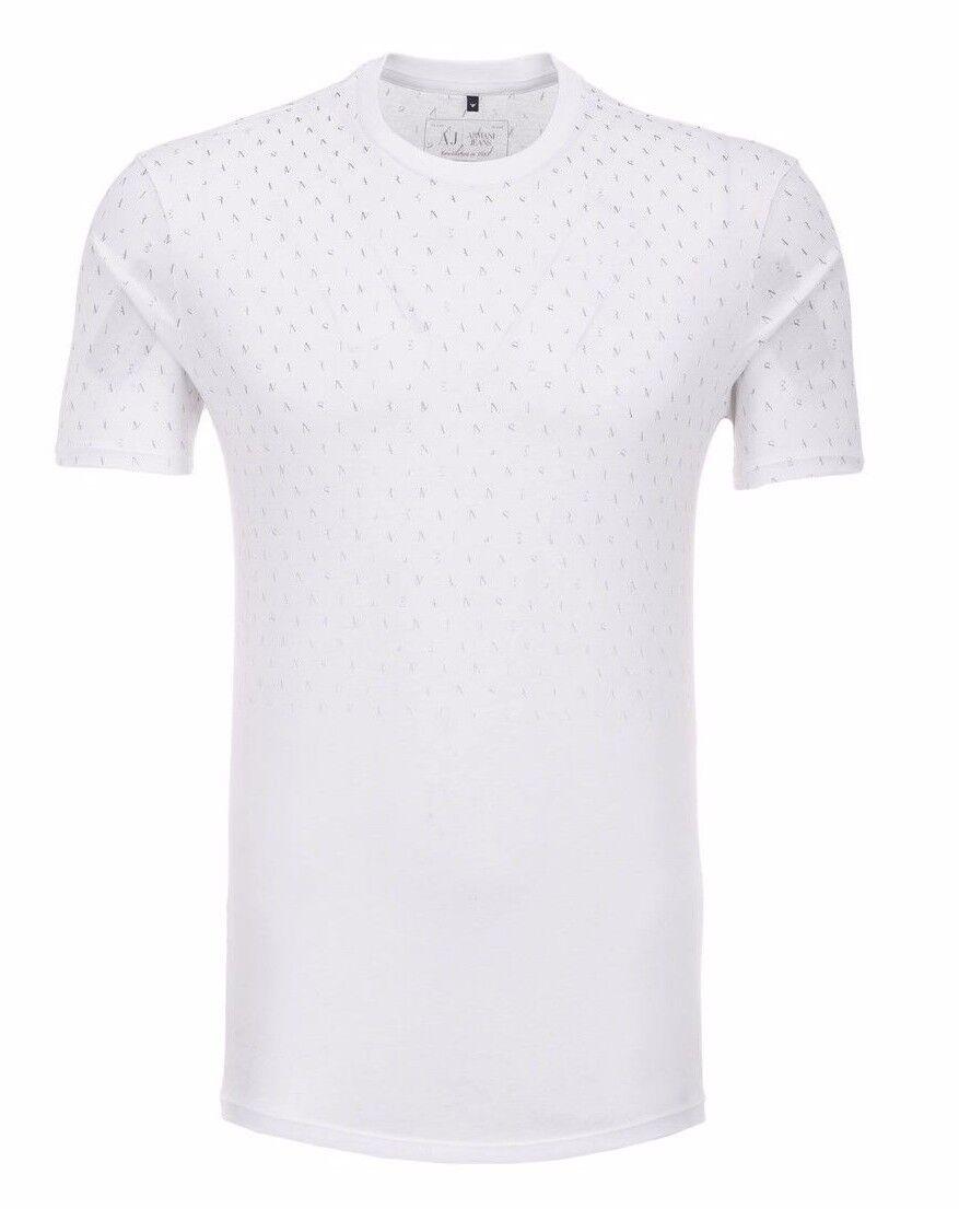 Armani Jeans Herren Weiß Alle über Buchstabe Logo Aufdruck T-Shirt Alle Größen