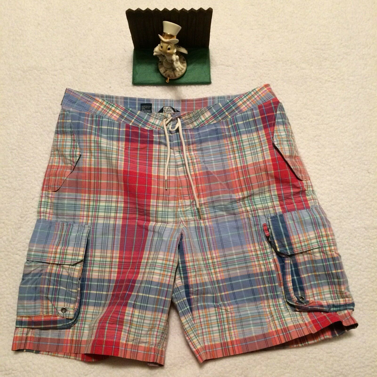 Polo Ralph Lauren Mens Cargo Shorts 36 Plaid Swim Board Shorts New.. Display