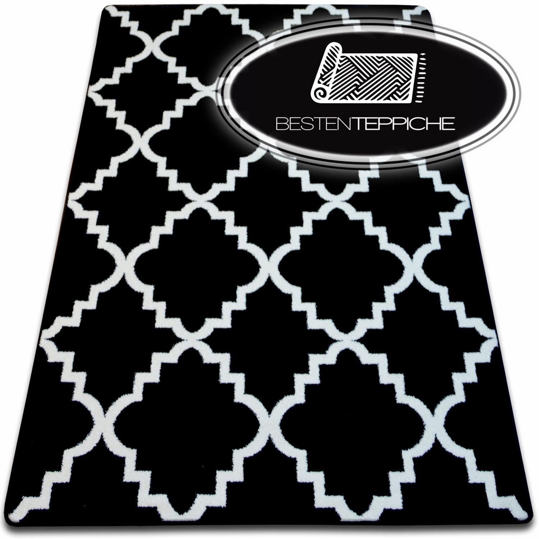 8 dimensioni Moderno Tappeto Morbido sketch f343 Nero Bianco marokkanisch Trifoglio alla moda