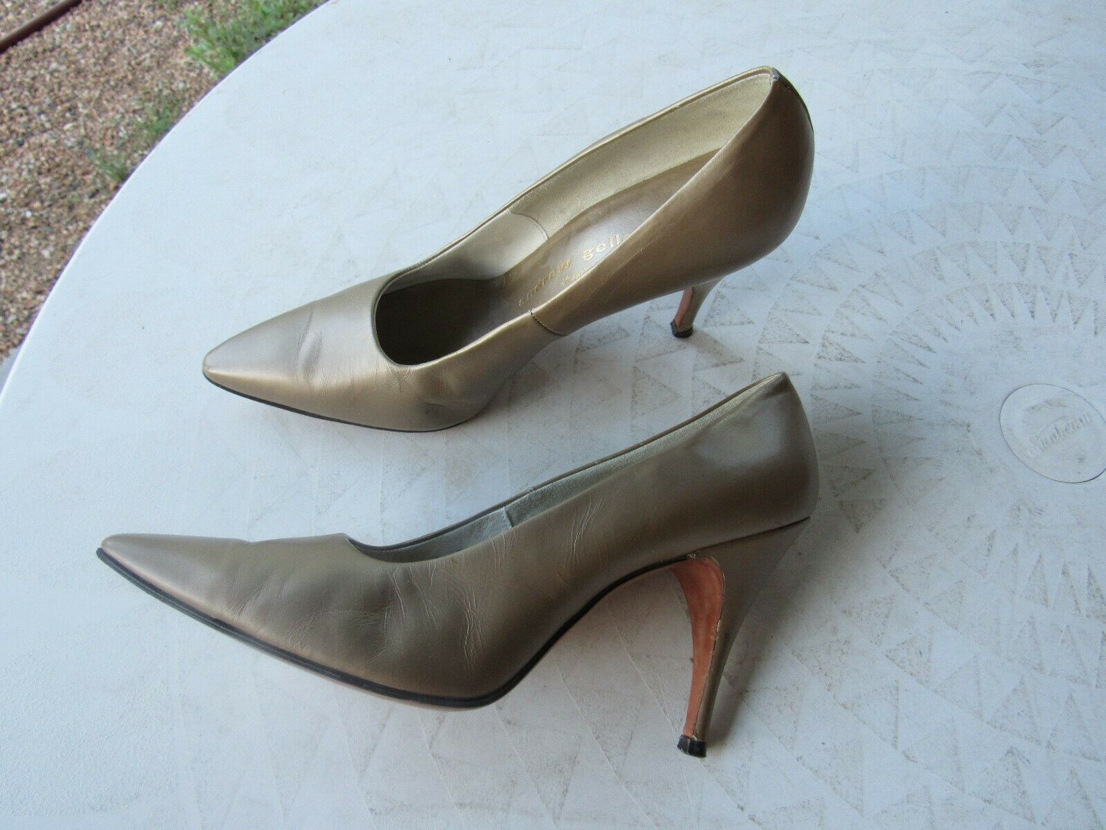 Vintage Muted Gold Leather Pumps by Andrew Geller Size 7-7.5