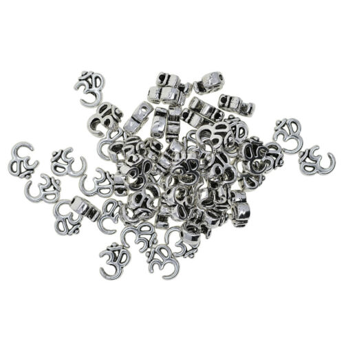 50pcs Alloy Om Meditation Yoga Spacer Loose Beads for Jewelry Making Beading