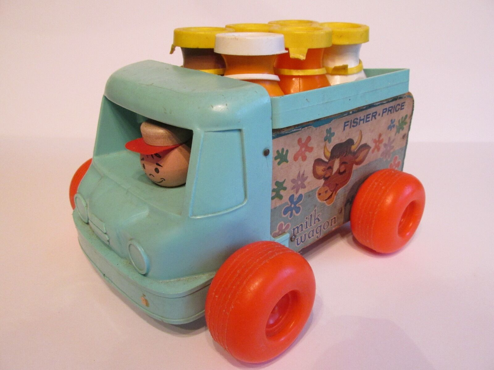 Vintage 1965 Fisher Fisher Fisher Price Milk Wagon Toy 7133a1