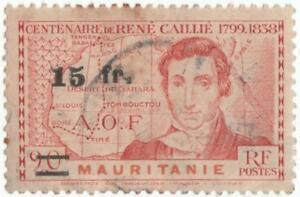 Mauritanie-15fr-overprint-on-stamp-used