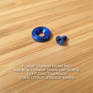 Zero-Tolerance-ZT0630-ZT0620-ZT-Knife-Custom-Titanium-Thumb-Disc-amp-Screw-BLUE