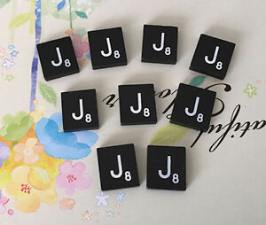 Letter E TEN A to Z in Stock! Individual Black  Scrabble Tiles Letters 10