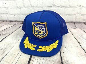 138109e7bd5 Vintage US Navy Blue Angels Snapback Hat Trucker Style Embroidered ...
