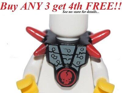 Lego Black Minifig Breastplate w// Shoulder Spikes Ninjago Cracked Red Skull NEW