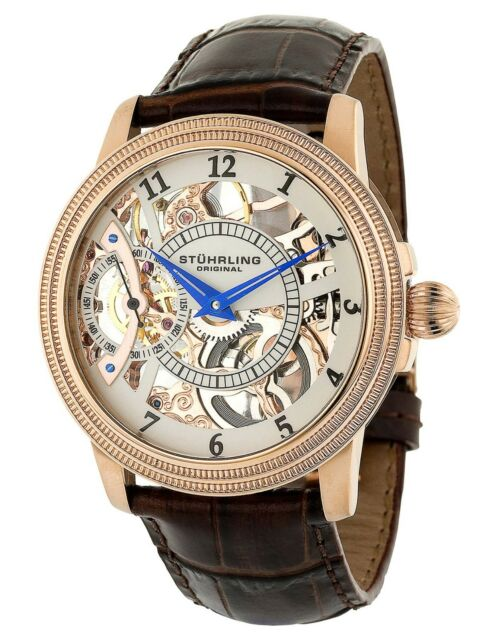 Stuhrling Men's 228 Skeleton 16k rose gold Hand Wind Brown Leather Dress Watch