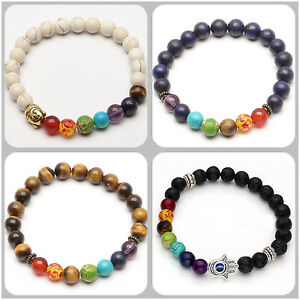 Hommes-Femmes-7-Pierre-Chakra-Guerison-Reiki-Priere-Bracelet-Perles-6-style-HOT