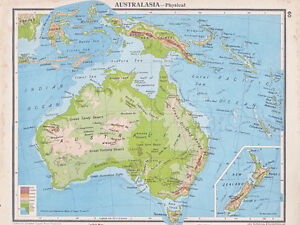 MAP AUSTRALIA PHYSICAL INSET NEW ZEALAND NEW GUINEA - Map of australia and new zeland
