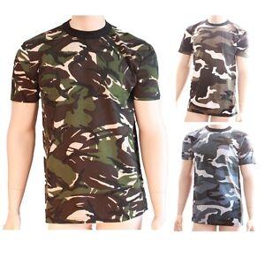 Dettagli su Da Uomo Esercito Colore Mimetico Militare Stile Manica Corta T Shirt Top