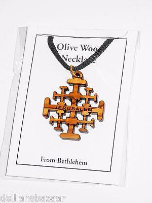 Cross Pendant Necklace Olive Wood Jerusalem Cross Holy Land Bethlehem OWB 001