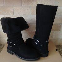 Ugg Braiden Black Suede Sheepskin Zipper Cuff Down Tall Boots Us 9 Womens