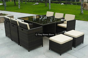 Image Is Loading NEW Cube Rattan Dining Set Garden Furniture Patio