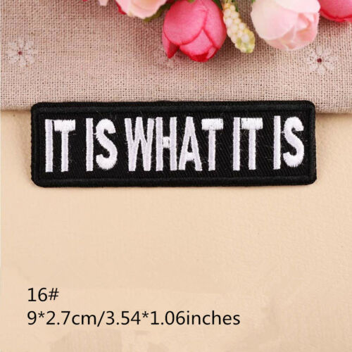 Slogan Words Embroidered Patches Iron on Badge Fabric Sticker Jacket Bags Sewing