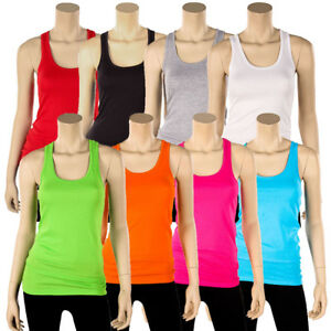 Womens-100-Cotton-Racerback-Tank-Top-Basic-Cami-Solid-Tee-Shirt-Workout-S-M-L