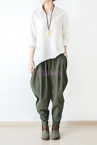 Womens-Loose-Line-Long-Trousers-Bootcuts-Pants-Casual-Spring-drop-crotch-Harem