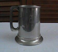 """Revere Pewter Glass Bottom Tankard Beer Mug Monogram """"AL"""" 5-8-71 Stein"""